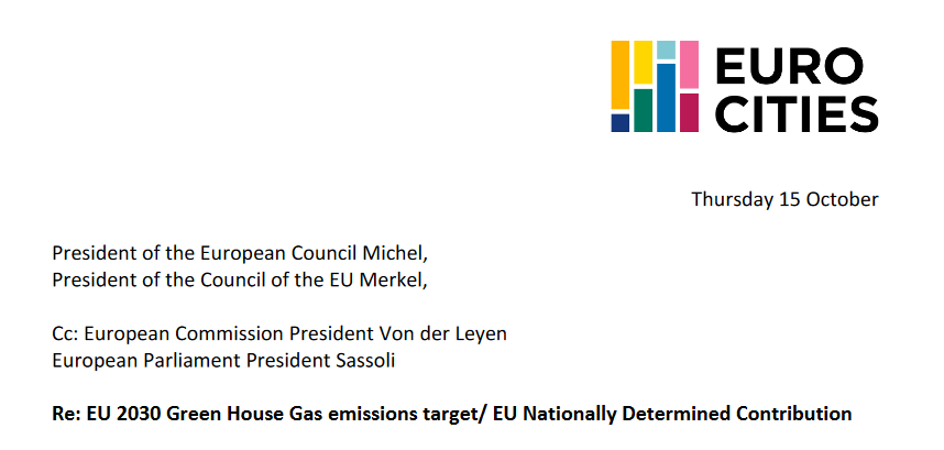 58 European mayors signed the petition for revision of the EU 2030 emission reduction targets