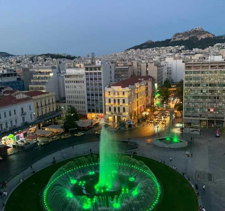 Athens' Omonia lit up in green to honour Panathinaikos FC